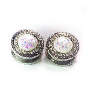 alargador pedra brilhante, alargador com fake opala e cristais.