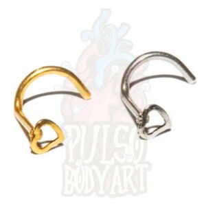 piercing de nariz aço heart coracao aco cirurgico, para furos nostril em dourado e prateado.