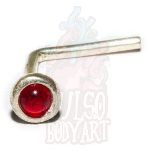 piercing nariz prata pedrinha vermelha, na cor vermelho.