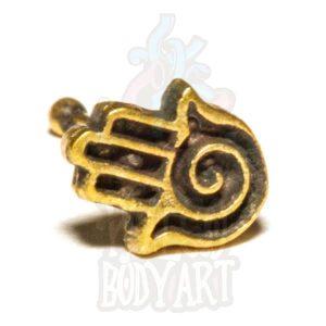 piercing de nariz indiano dourado bronze hamsa, em bronze para furos nostril.