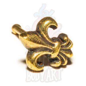 piercing de nariz flor dourada bronze fleur de lys, em bronze, para furos nostril.