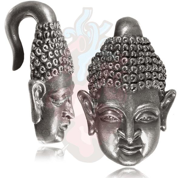Alargador Peso Budha prateado, para alargar orelha.