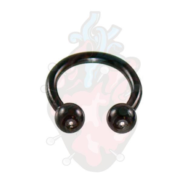 piercing ferradura bolinha preto 3mm